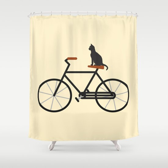 Cat Riding Bike Shower Curtain
