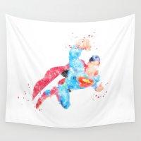superhero Wall Tapestries featuring Superman Superhero by Carma Zoe