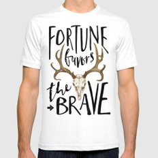Fortune Favors the Brave White SMALL Mens Fitted Tee