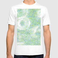 Peacock Feathers Doodle Mens Fitted Tee MEDIUM White