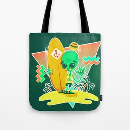 Alien Surfer Nineties Pattern Tote Bag