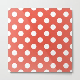 Fire opal - pink - White Polka Dots - Pois Pattern Metal Print