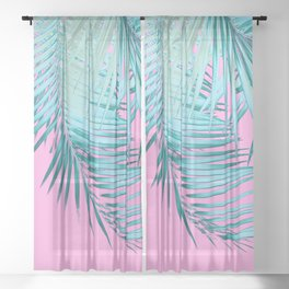 Palm Leaves Pink Blue Vibes #1 #tropical #decor #art #society6 Sheer Curtain