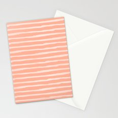 Sweet Life Thin Stripes Peach Coral Pink Stationery Cards