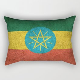 Old and Worn Distressed Vintage Flag of Ethiopia Rectangular Pillow