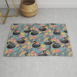 Bonny Black Swans with Lots of Leaves on Grey Rug