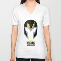 magneto V-neck T-shirts featuring Supervillains Rockers - Magneto by La Fabrique de Posters