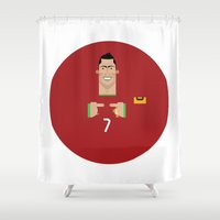 ronaldo Shower Curtains featuring Cristiano Ronaldo Portugal Illustration by Gary  Ralphs Illustrations