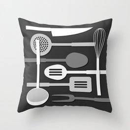 Kitchen Utensil Silhouettes Monochrome III Throw Pillow