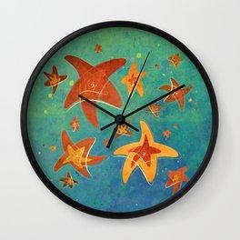 Starry Starfish Night Wall Clock