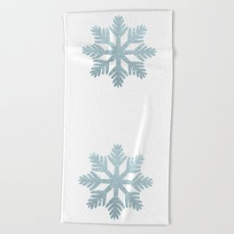 Blue Glitter Snowflake Beach Towel