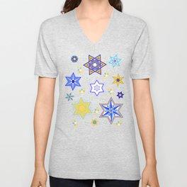 Embellished Stars of David Unisex V-Neck