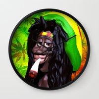 marijuana Wall Clocks featuring Rastaman Marijuana Caricature 3d by BluedarkArt