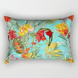 Vintage & Shabby Chic - Colorful Tropical Blue Garden Rectangular Pillow