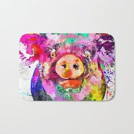 Pig Watercolor Grunge Bath Mat