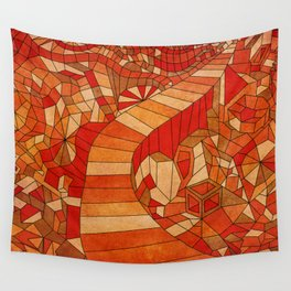 Path in brown and orange 3d landscape Wall Tapestry