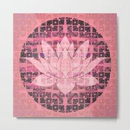 Pink Luminous Techno Lotus Metal Print