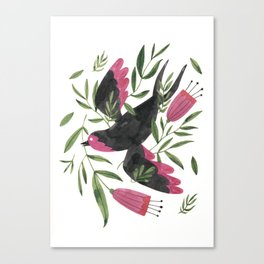 Swallow with Flowers Canvas Print