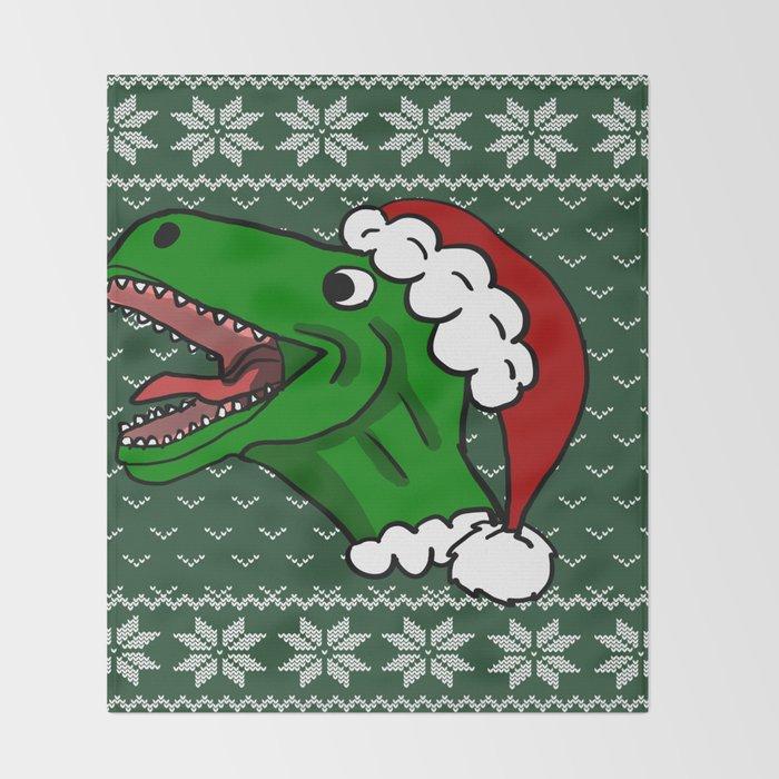 T Rex Christmas.Santa T Rex Christmas Sweater Throw Blanket By Ericallen