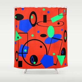 Retro abstract geometric design red print Shower Curtain