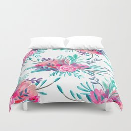 Modern hand painted pink turquoise floral watercolor pattern Duvet Cover