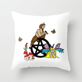 Faerie And Pan Pentacle Throw Pillow