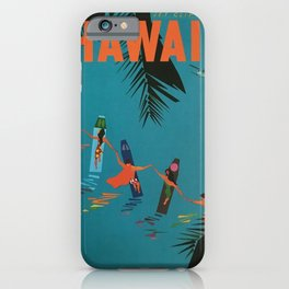 Surfing Hawaii - Jet Clippers to Hawaii Vintage Travel Poster iPhone Case