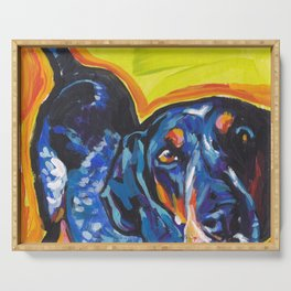 Fun BLUETICK COONHOUND Dog bright colorful Pop Art painting by Lea Serving Tray
