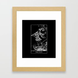 0. The Fool- White Line Tarot Framed Art Print