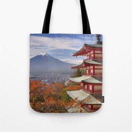 Chureito pagoda and Mount Fuji, Japan in autumn Tote Bag