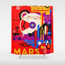 NASA Mars The Red Planet Retro Poster Futuristic Best Quality Shower Curtain