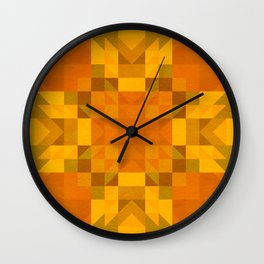 julia - autumnal orange yellow geometric diamond pattern Wall Clock
