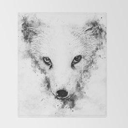 arctic fox bicolor eyes ws bw Throw Blanket