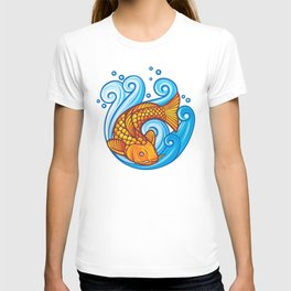 koi carp fish in the sea waves (japanese or chinese inspired design) T-shirt