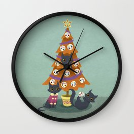 Meowy christmas sugar skulls Wall Clock