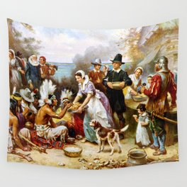 The First Thanksgiving 1621 By Jean Leon Gerome Ferris Wall Tapestry