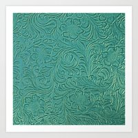 leather Art Prints featuring teal leather by Sylvia Cook Photography