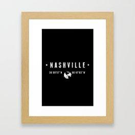 Nashville, geographic coordinates Framed Art Print