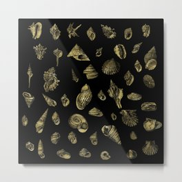 Sea shells pattern gold on black 1 Metal Print
