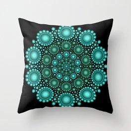 Turquoise & Green Circle Mandala Throw Pillow