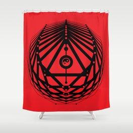 Radiant Abundance (red-black) Shower Curtain