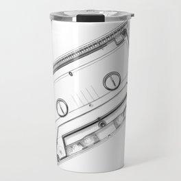 Clear Cassette Tape (Black and White) Travel Mug
