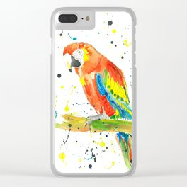 Parrot (Scarlet Macaw) - Watercolor Painting Print Clear iPhone Case