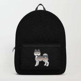 Grey Alaskan Klee Kai Dog Cute Cartoon Illustration Backpack
