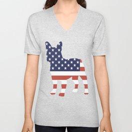 FRENCHIE-tshirt,-patriotic-FRENCHIE Unisex V-Neck