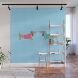 Cute dogs in love with dots in blue background Wall Mural