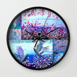 Cherry Blossom Collage Wall Clock