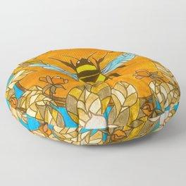 Bumblebee In Wild Rose Wreath Floor Pillow