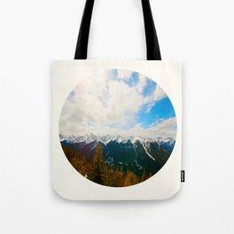 Mid Century Modern Round Circle Photo Snow Covered Mountains Meet Autumn Tote Bag