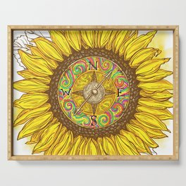 Sunflower Compass Serving Tray